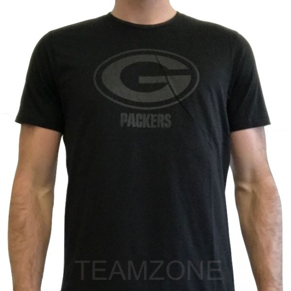 New Era NFL Tonal Black Logo Tee - Green Bay Packers