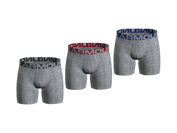 Under Armour Charged Cotton 6'' Boxer, 3 Pack - Gray