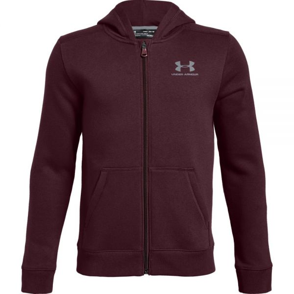 Under Armour Boys EU Cotton Fleece Full Zip Hoody - Red